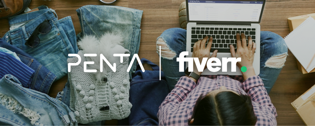 Freelancer mit Laptop - fiverr Logo & Penta Logo